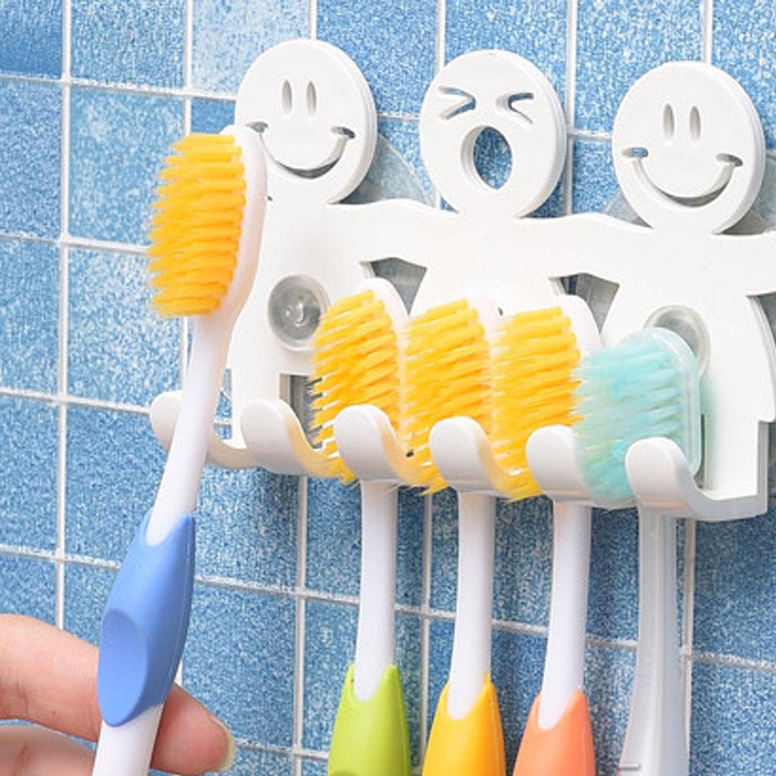 1 stücke Saug Haken 5 Position Zahn Pinsel Halter Badezimmer Sets Nette Lächeln Cartoon Sauger Zahnbürste Halter