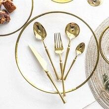 New Stainless Steel Golden Cutlery Set Mirror Polishing Dinnerware Tableware Dinner Knife Fork Foods Tools Kitchen Accessories