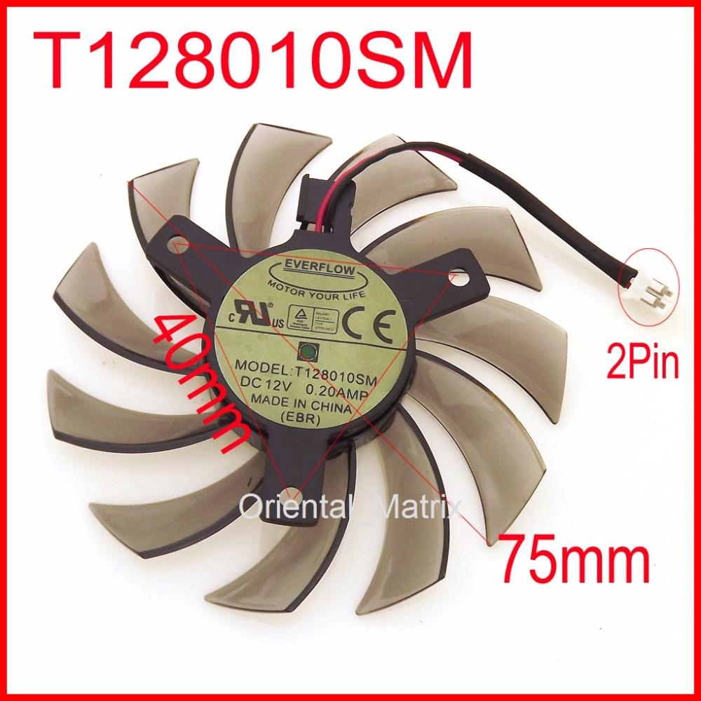 T128010SM 75 مللي متر 12V 0.2A لجيجابايت N470SO N580UD N580SO GTX460 GTX470 GTX580 HD5870 بطاقة جرافيكس التبريد مروحة