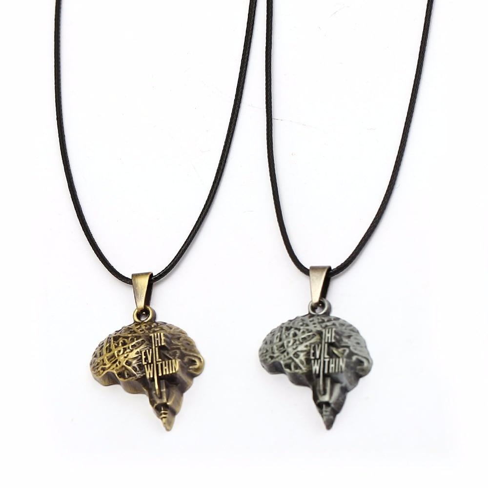 Game Necklace The Evil Within II Necklace Mini Break Brain Metal Pendat Black Rope Chain Necklaces Women Men Charm Colar HC12592