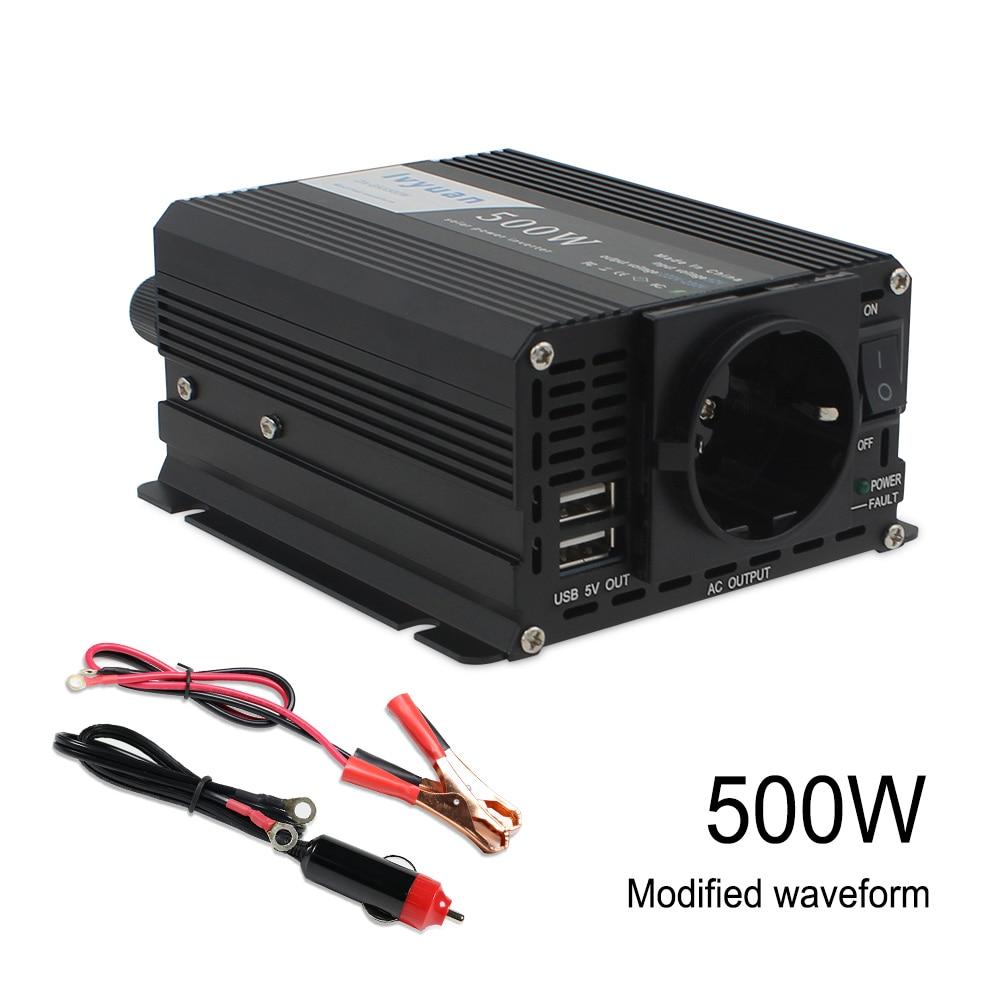 1000W DC12V to AC 220V-240V Portable Car Power Inverter Charger Converter Transformer Vehicle Power Supply EU socket dual USB