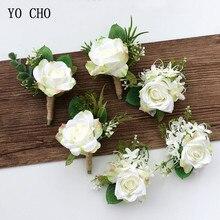 YO CHO-ramillete de rosas de seda blanca para decoración de boda, ramillete de muñeca, alfiler, flores para invitados