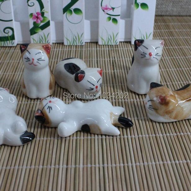 2017 gato de la suerte palillos estante 6 uds palillos de cerámica titular set vajilla hogar conjunto envío gratis