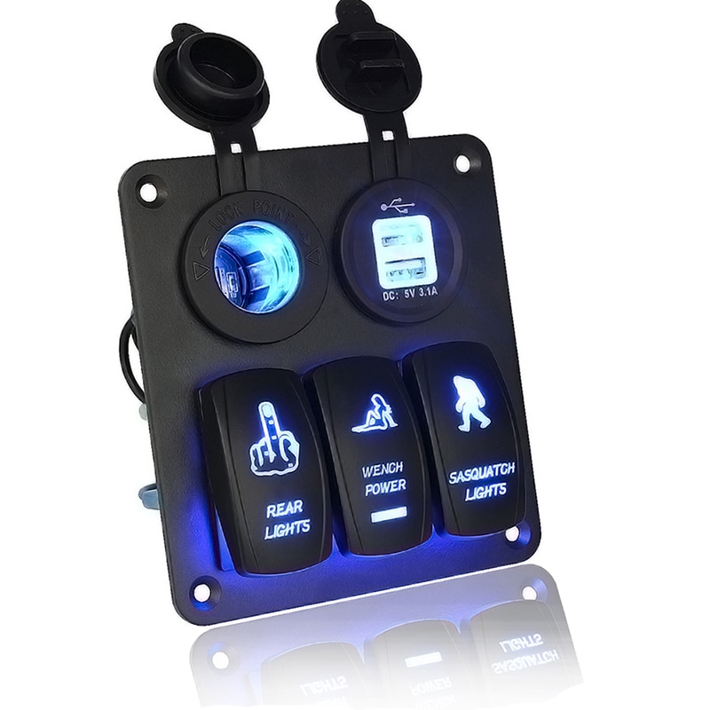 12 V/24 V 3 Gang Switch Panel circuito azul Led Rocker Breaker coche barco marino nuevo
