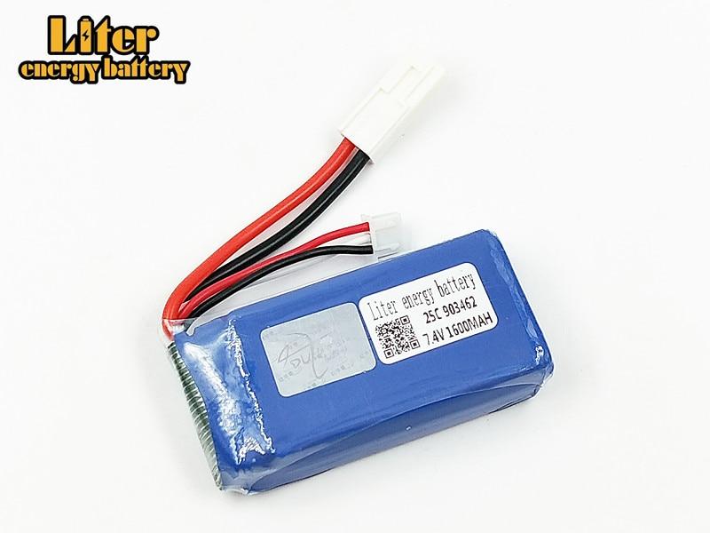 Batería Lipo de 7,4 V y 1600mAh para barco de Control remoto FT009 FX067C 2S batería 7,4 V 903462 25c