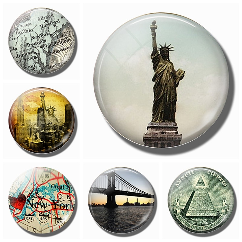 Статуя Свободы 30 мм магнит на холодильник Примечания Нью-Йорк магнит на холодильник стеклянный купол свобода для всех винтажного искусства домашний декор