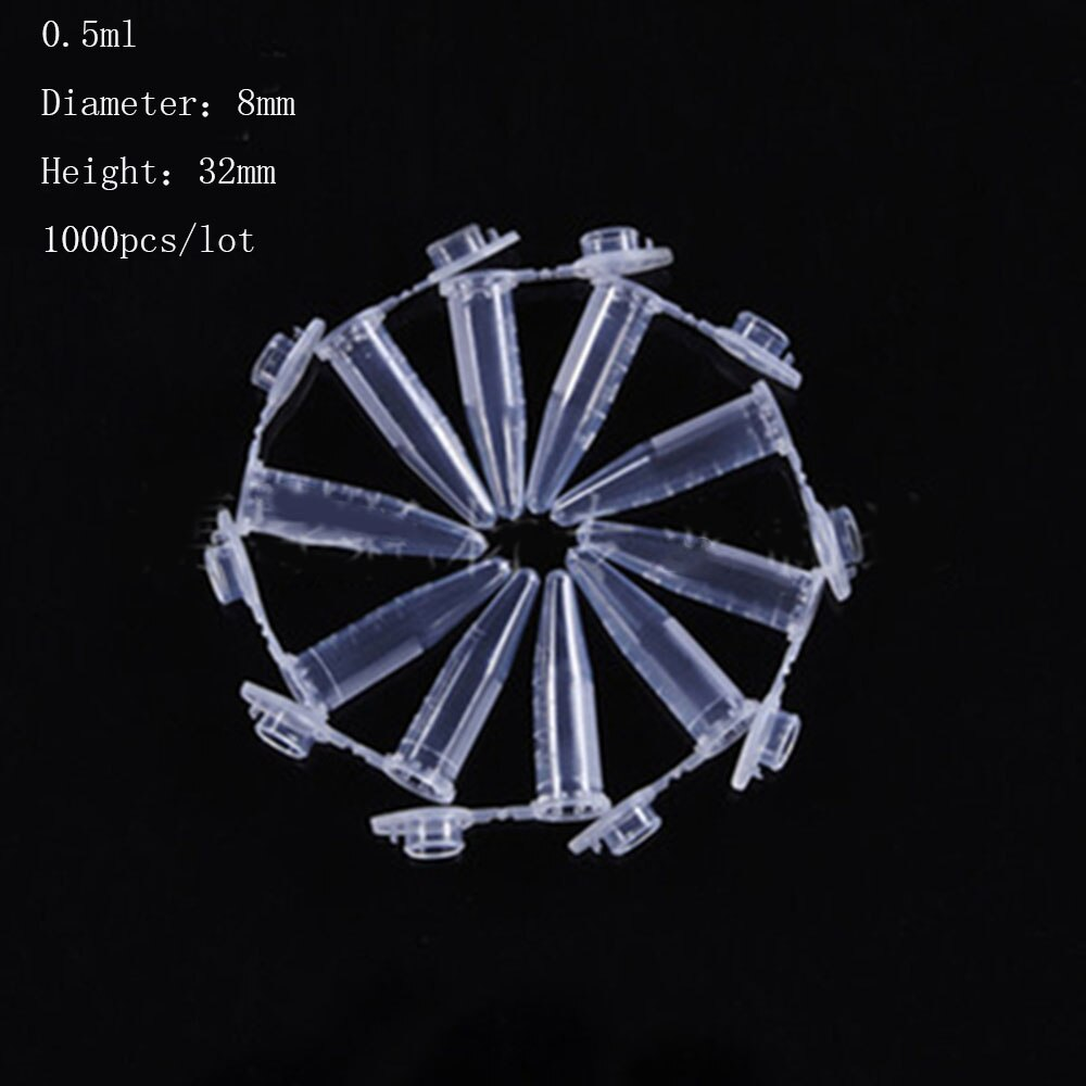 1000pcs 0.5ml Sample Preparation Round Bottom Centrifuge Tubes with Cap Clear White