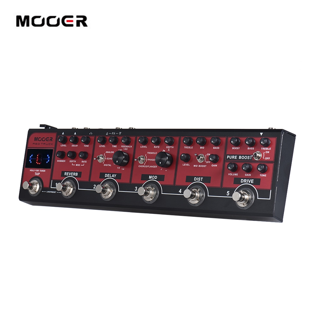 MOOER camión rojo 6-en-1 efecto combinado Pedal Boost + Overdrive + distorsión + modulación + retardo + reverberación grifo sintonizador incorporado