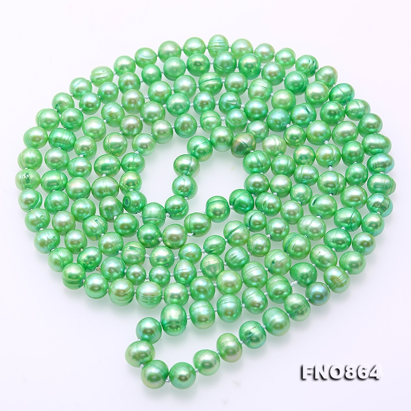 Longo colar de Pérolas Jóias 48 polegadas 7-8mm Perto Rodada Pérola Natural de Água Doce Colar de Cor Verde