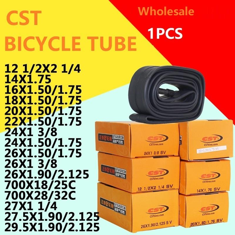 Tubo de bicicleta 12/14/16/18/20/700/24/26x1,95/1,75/1,50/1 3/8 pulgadas CST tubo interno Schrader Presta válvula AV/FV