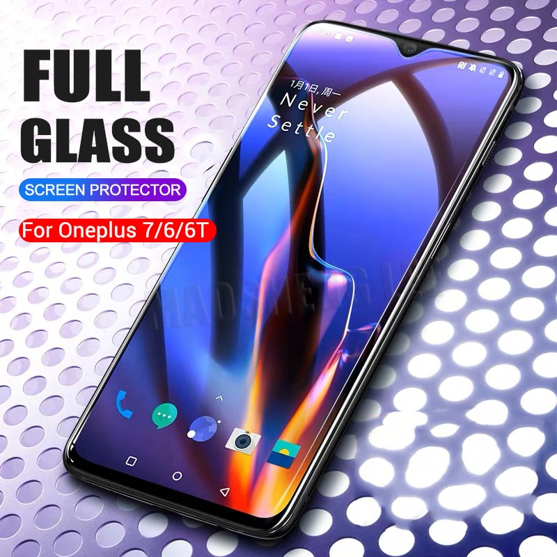 2 unids/lote de vidrio templado completo para Oneplus 6 6T 7 Protector de pantalla de vidrio templado 2.5D para one plus 7T 6 6t Anti vidrio azul