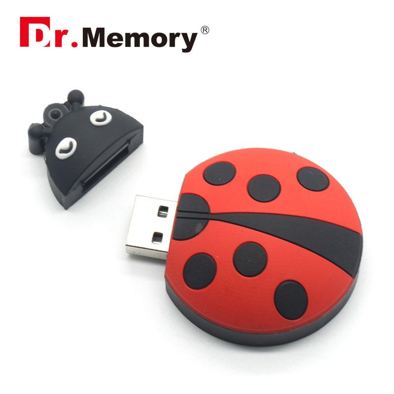 El dr. Memoria lindo mariquita USB Flash Drive 16GB capacidad real Pen Drive 32GB USB2.0 Memoria stick Flash Drive 16GB cartoon Pen drive