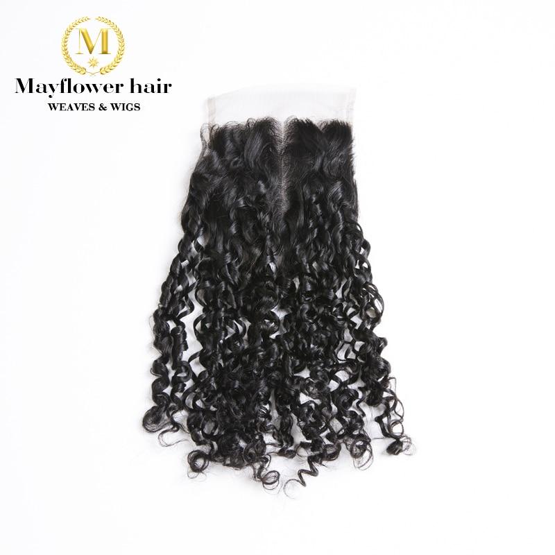"MFH Minúscula Onda cabelo Funmi 4x4 ""fechamento cor Natural preto Remy produtos de cabelo humano despedida Livre ou despedida meio de 8-16"""