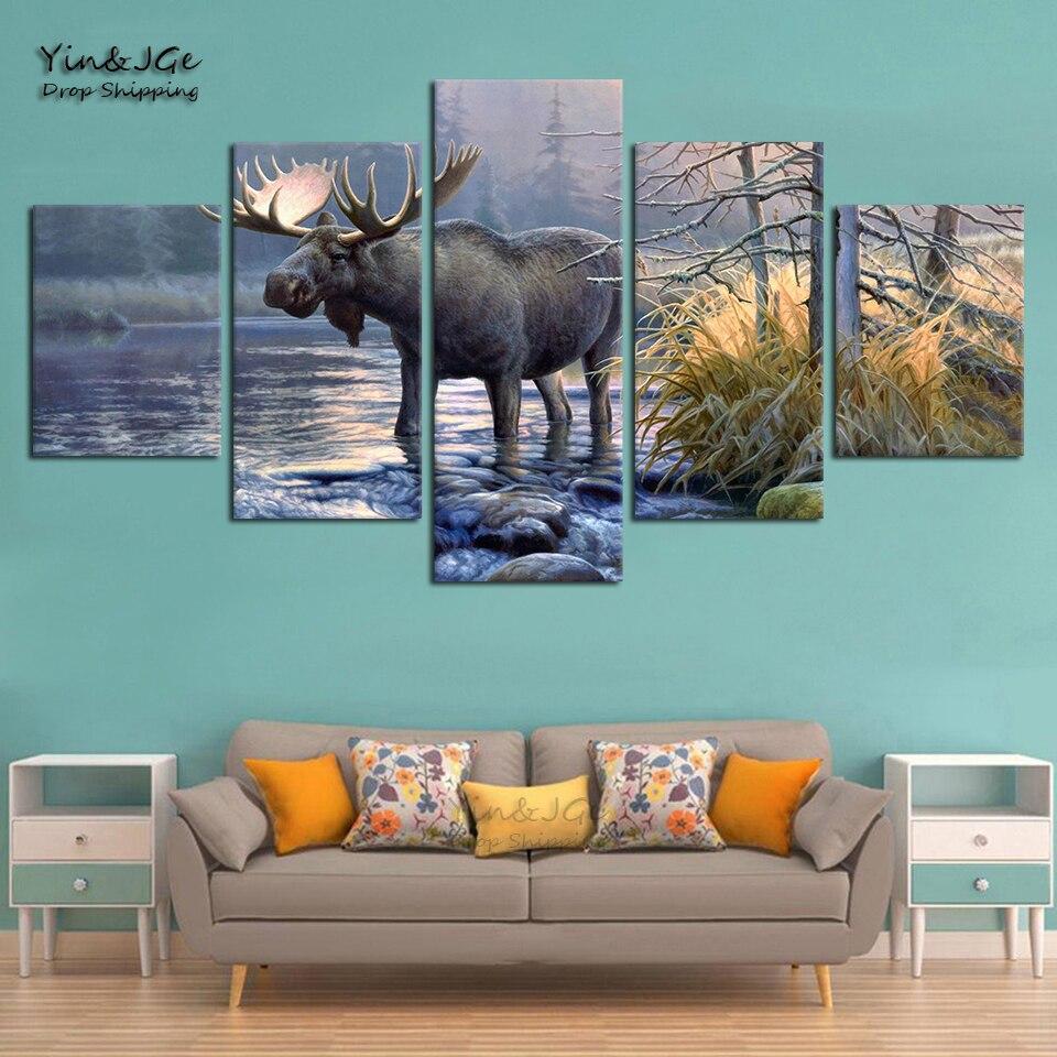 Marco de arte para pared de salón, 5 paneles de alce, Animal, paisaje de lago, imágenes abstractas, lienzos impresos en HD modernos para decoración del hogar