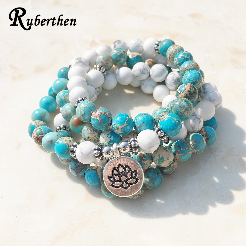 Модный дизайн Ruberthen, Натуральный Камень Хаулит, браслет Mala, 108 бусин, браслет с запахом Mala или Высококачественный Браслет с цветком лотоса