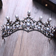 Винтажный ободок для волос в стиле барокко с кристаллами и жемчугом, ободок для волос, черный ободок со стразами для торжеств и короны, аксес...
