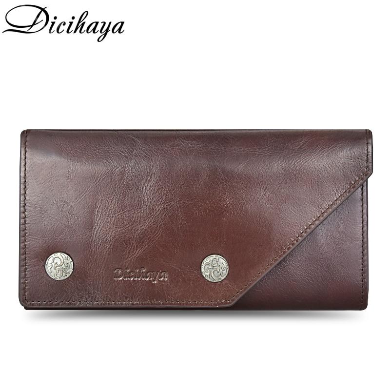 Dicihaya 100% garantia de couro genuíno dos homens carteira bolsa macia zíper longo titular do cartão de crédito carteiras couro vaca bolsa casual