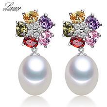Boucles doreilles en perles naturelles deau douce de culture blanche pour femmes avec boucles doreilles en argent Sterling 925