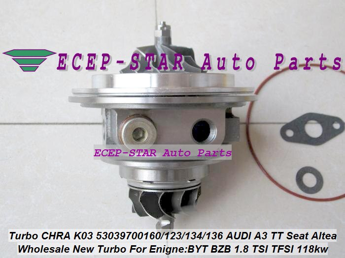 Cartucho Turbo CHRA K03 160, 53039880160, 53039880134, 53039880136 06J145701J para Skoda Octavia superb II 1.8L ETI BZB 160Ps 118kw