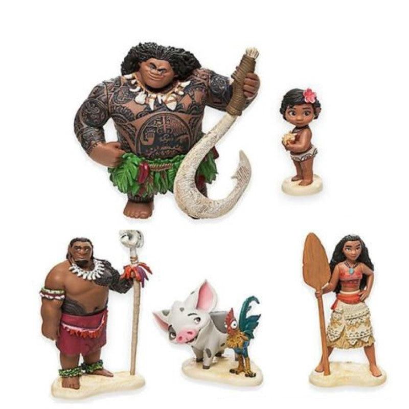 Set completo de figuras de acción de Moana, Maui, Moana,Chief Tui, Pua y Hei,Moana Princess, muñeco de juguete Vaiana para regalo de chico