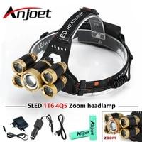 anjoet 20000 lumens cree 5 led headlamp xml t6 4xpe flashlight zoomable head lamp camp hike emergency light fishing outdoor
