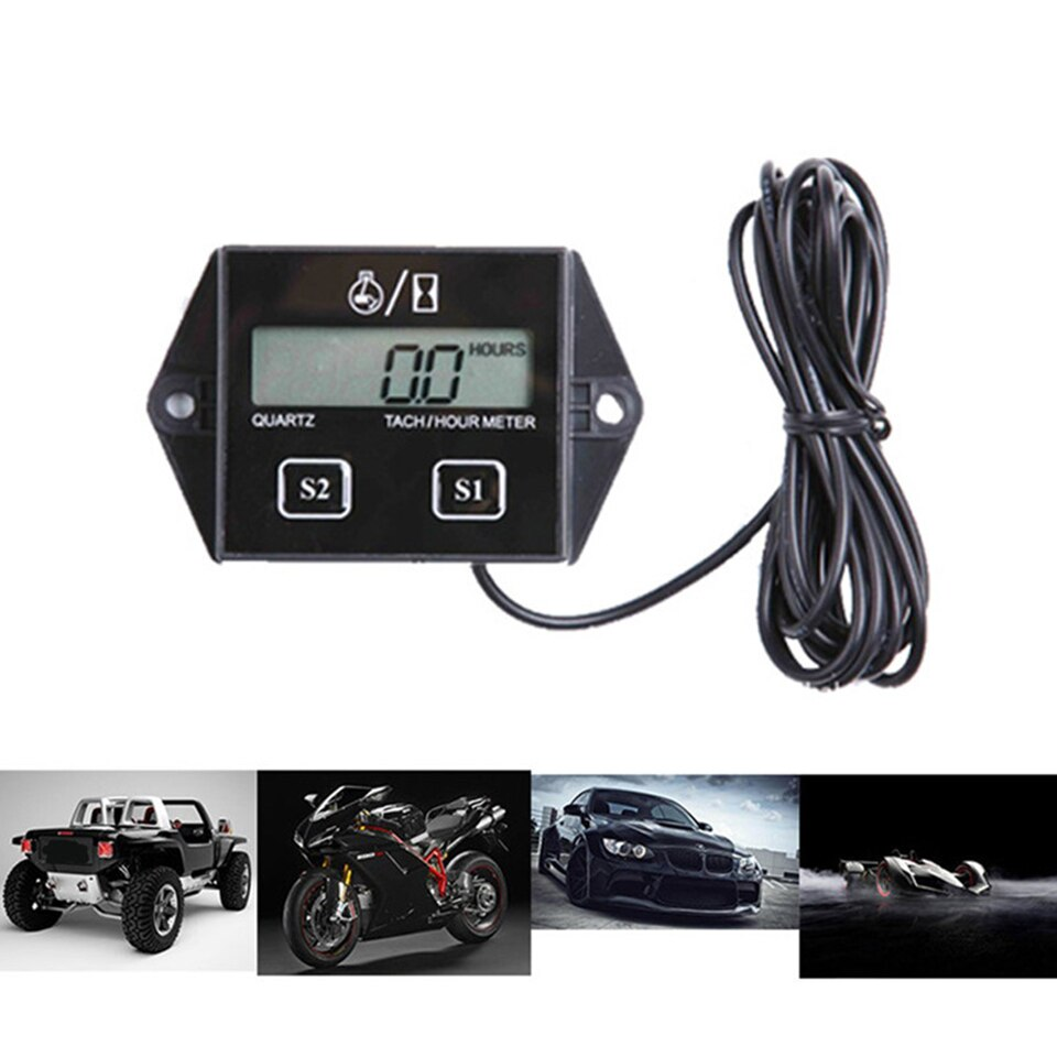 Digital Engine Tach 2&4 Stroke Engine Car Boat Hour Meter Tachometer Gauge Engine RPM LCD Display For Gasoline Motorcycle Motor