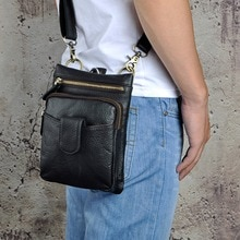 Originele Lederen Mannen Casual Mode Mochila Crossbody Messenger Bag Designer Mannelijke Taille Riem Pack Telefoon Tablet Case Pouch 6549-b