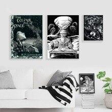 Lovecraft, pósteres e impresiones artísticos cuadro sobre lienzo para pared en blanco y negro para decoración de sala de estar, decoración del hogar, cuadros sin marco
