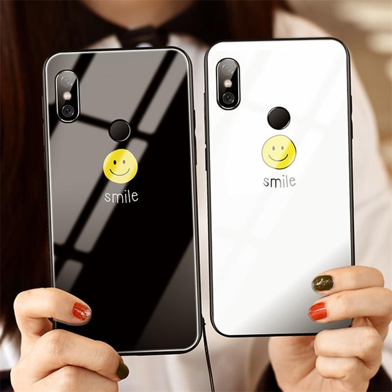 Funda de teléfono de vidrio templado de lujo para Redmi 5 Plus Note 4 Cute S mi le patrón pareja de silicona para mi 6 9 funda trasera Coque