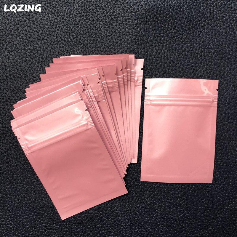 Bolsas Mini Ziplock aluminizadas de 7*10cm de colores, bolsas reciclables Mini bolsas de plástico rosa con cierre de cremallera, bolsa para guardar joyas con cremallera 40x