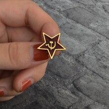 레드 스타 해머 낫 공산주의 상징 소련 상징 소련 핀 냉전 애국심 옷깃 핀 의류 모자 코트 Accessorie