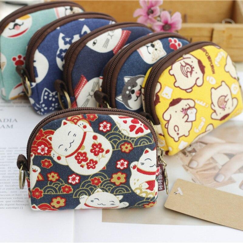 Mini bolso Retro para mujer, monederos Kawaii, billetera corta para niñas y gatos, monedero pequeño de lona, bolsos de mano para mujer, monederos para niñas