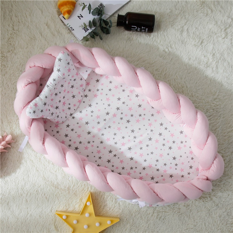 2021 New Portable Baby Bassinet For Bed Baby Lounger For Newborn Baby Crib Breathable And Sleep Nest Pillow 0-36M