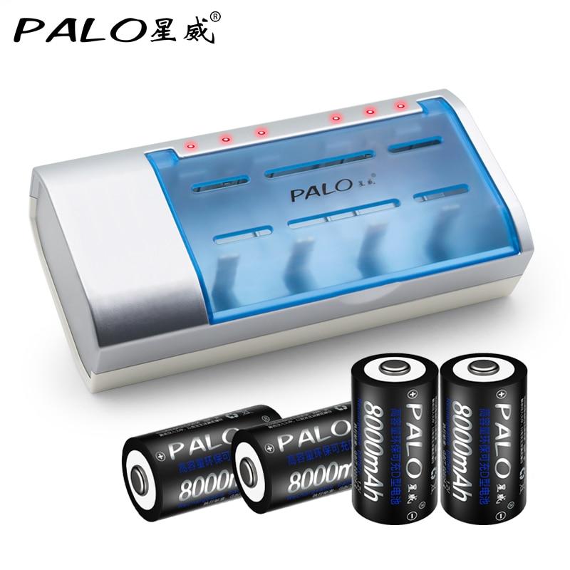 Carregador de bateria inteligente multifunction para baterias recarregáveis de nimh nicd aa/aaa/sc/c/d/9 v + 4 baterias recarregáveis do tamanho dos pces d