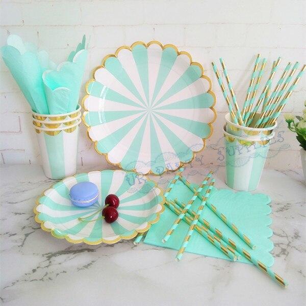 16 juegos de vajilla de papel para fiesta de boda de rayas de menta y oro menta platos té tazas servilletas decoración de fiesta de cumpleaños