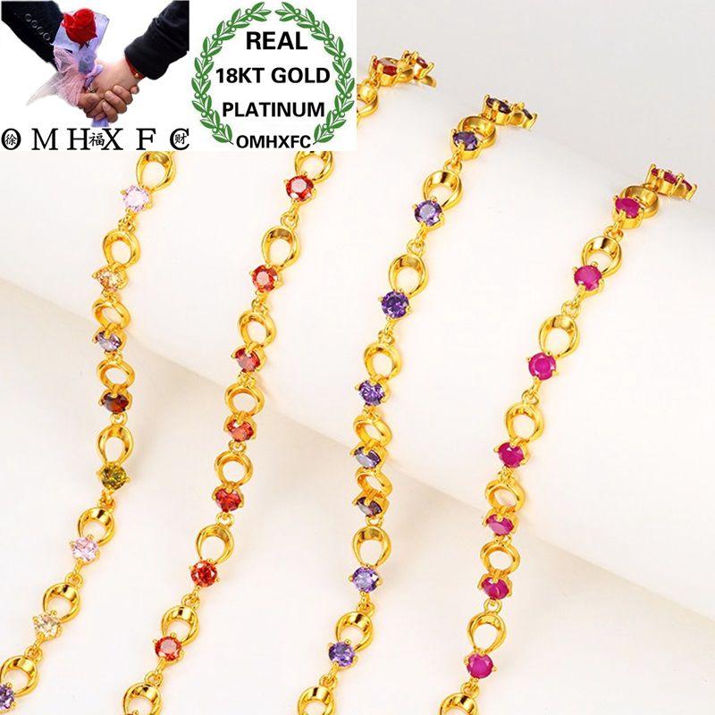 OMHXFC, venta al por mayor, moda europea, mujer, chica, fiesta, cumpleaños, boda, regalo, Vintage, redondo, rojo, circonita AAA, pulsera de oro 18KT ES06