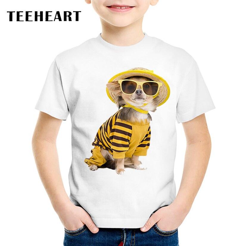 TEEHEART verano niños/niñas camiseta sombrero gafas de sol perro estampado Harajuku camisetas niños cuello redondo Camiseta de manga corta 18 m-10 T TA707