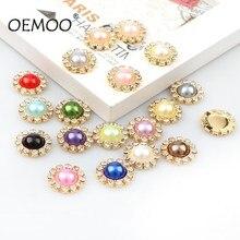 10 piezas de perla brillante botones de diamantes de imitación en forma de flor 16mm boda decoraation/Flatback para botones