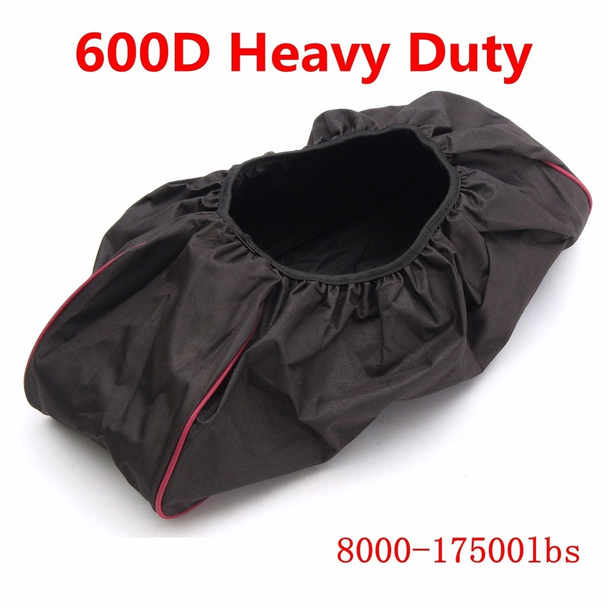 Black Thick Waterproof Soft Winch Dust Capstan Cover 600D Driver Recovery 8000-17500 lbs Trailer SUV