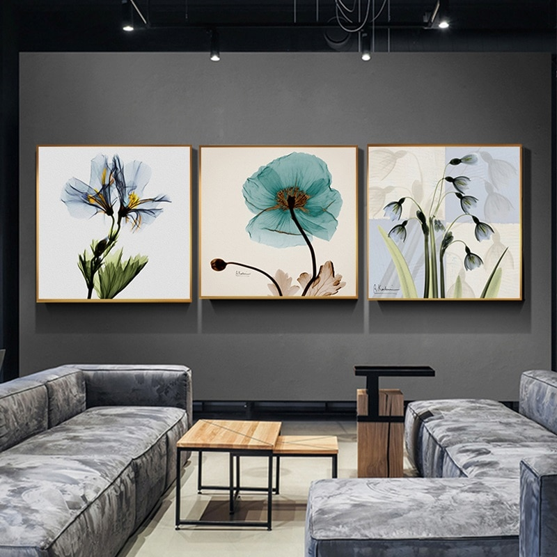 Lienzo con pintura de acuarela azul nórdico rojo verde rosa carteles e impresiones para sala comedor Arte de la pared Decoración fresco