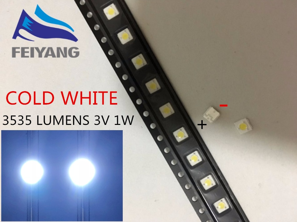 1000 Uds retroiluminación de LED de lúmenes 1W 3V 3535, 3537 blanco iluminación LCD trasera para TV aplicación de TV A127CECEBUP8 estilo-3