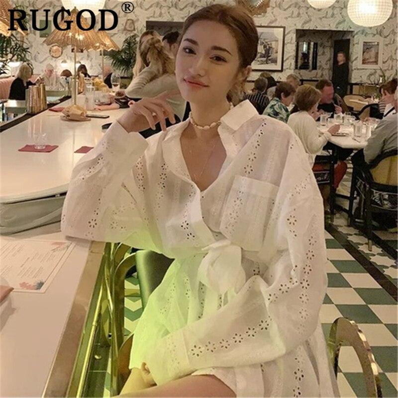 RUGOD, blusa larga blanca ahuecada coreana para mujer, camisas elegantes holgadas de manga larga con cinturón, tops informales de verano para mujer, ropa 2019
