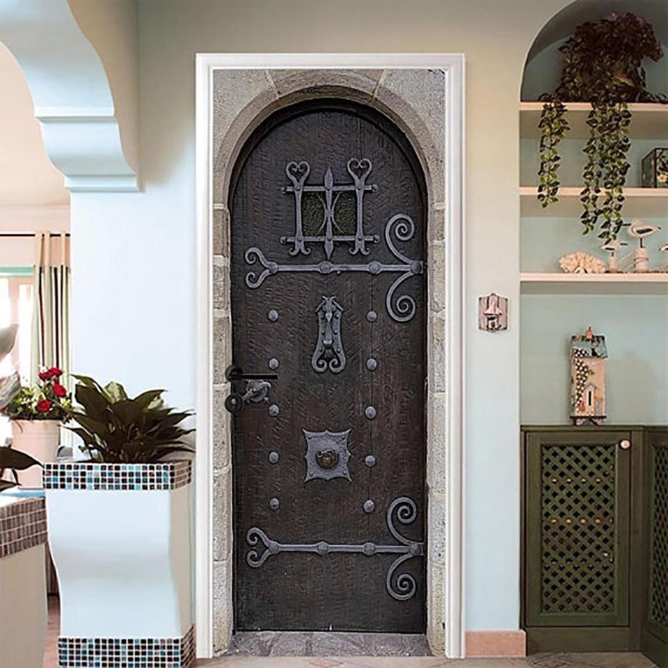 Pegatina autoadhesiva PVC impermeable arte clásico decoración del hogar estilo europeo traje para puerta de acero papel DIY sala de estar impresión 3D pegatina