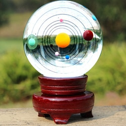 80mm sistema solar grande planeta globo de cristal polido esfera feng shui vidro bola artesanato decoração para casa presentes astrophile