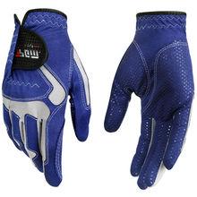 Nouveau gant de Golf homme 2017 Micro Fiber souple main gauche gants Anti-dérapage particules antidérapantes respirant (bleu)
