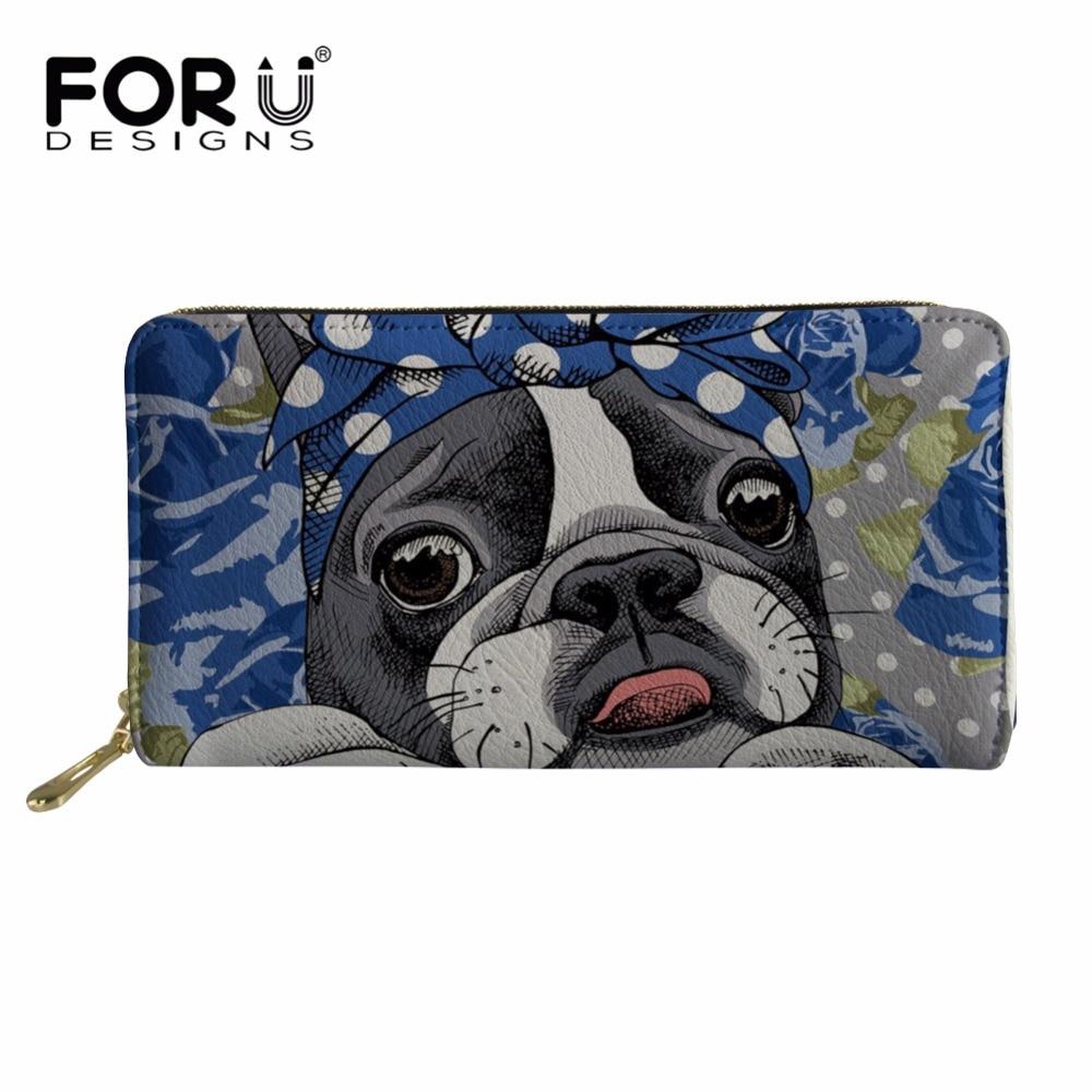 FORUDESIGNS Purse Women Boston Terrier Kawaii Printed Wallets Ladies Long Clutch Phone Wallet Females Card Holders for Teen girl