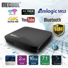 Mecool Amlogic S912 Android TV caja de DDR4 Octa-core Smart 7,1 16GB 2,4G/5G WiFi BT 4,0 Airplay Miracast HD 4K M8S Pro reproductor de medios