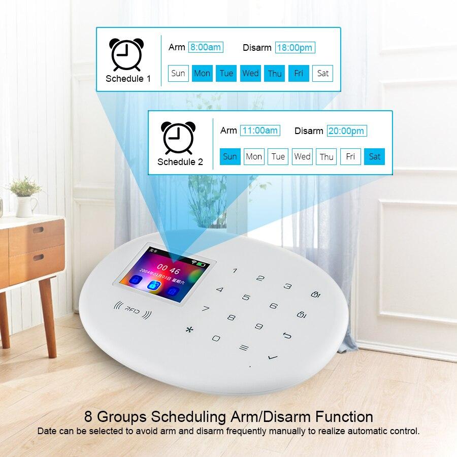 KERUI     systeme dalarme de securite domestique intelligent Tuya  wi-fi 4G  GSM  capteur de porte sans fil  detecteur de fumee  anti-cambriolage  avec prise de camera IP  application