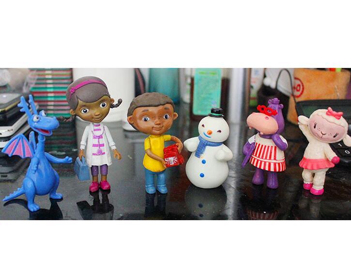 6 unids/set Doc McStuffins figuras de acción de PVC doctor Juguetes animales muñeca Lambie, dragón, Juguetes de Hallie para niños y niñas