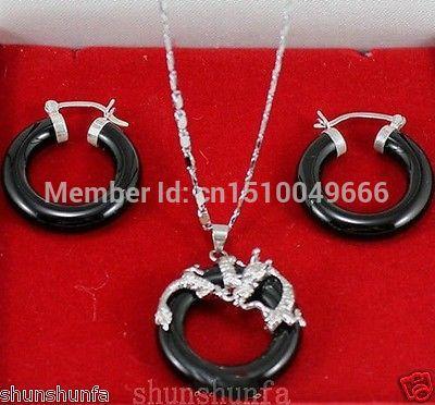 Hot venda LIVRE O NAVIO >>>> Jóias preto soild prata colar de pingente de dragão de jade natural brinco
